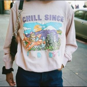 Brandy Melville pink chill since Tokyo crewneck